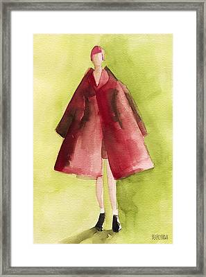 Red Coat - Watercolor Fashion Illustration Framed Print