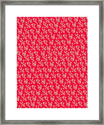 Red Coffee Cup Pattern Framed Print by John Keaton