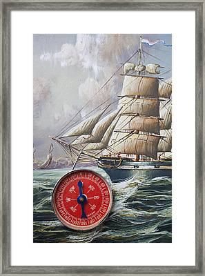 Red Compass On Ship Painting Framed Print