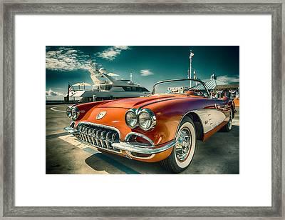 Red Corvette Chevrolet Classic Car Framed Print