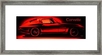 Red Corvette Framed Print by George Pedro
