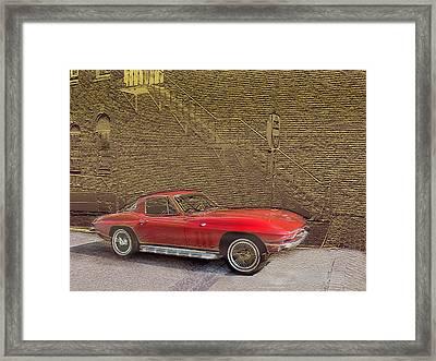 Red Corvette Framed Print by Steve Karol