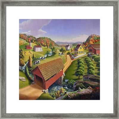 Red Covered Bridge Country Farm Landscape - Square Format Framed Print