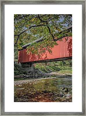 Red Covered Bridge Framed Print by Edward Fielding
