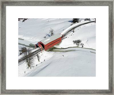 Red Covered Bridge Framed Print by Rob Huntley