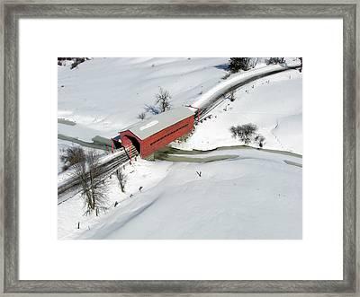 Red Covered Bridge Framed Print