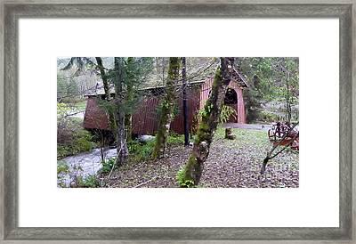 Red Covered Bridge  Framed Print by Susan Garren