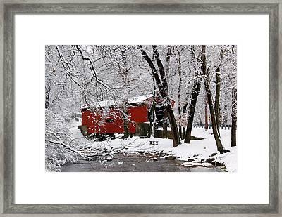 Red Covered Bridge Winter 2013 Framed Print