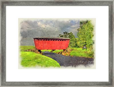 Red Covered Bridge With Car Framed Print by Dan Friend