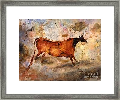 Red Cow Framed Print by Hailey E Herrera