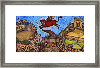 Red Cow Framed Print by Rae Chichilnitsky