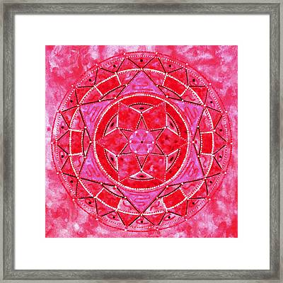 Red Crystal Mandala Framed Print by Vlatka Kelc