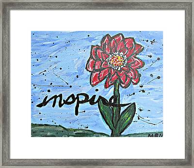 Red Dahlia Inspire Framed Print