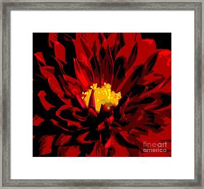 Red Dahlia Abstract Framed Print by Olivia Hardwicke