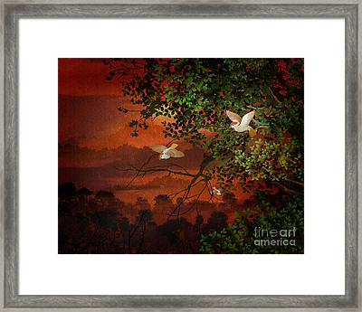 Red Dawn Sparrows Framed Print