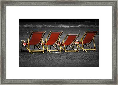 Red Deck Chairs Framed Print by Mikhail Pankov