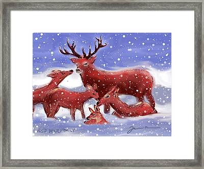 Red Deer Family Framed Print by Jean Pacheco Ravinski