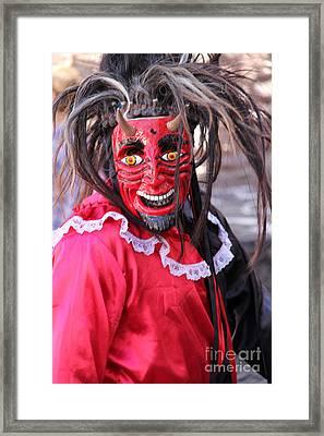 Red Devil At The Santa Prisca Parade Framed Print by Linda Queally