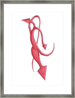 Framed Print featuring the drawing Red Devil by Giuseppe Epifani