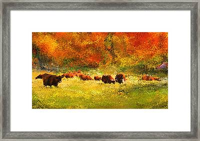 Red Devon Cattle In Autumn -cattle Grazing Framed Print by Lourry Legarde