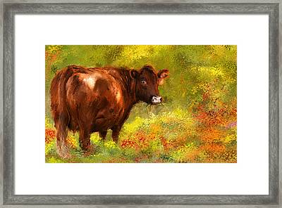 Red Devon Cattle - Red Devon Cattle In A Farm Scene- Cow Art Framed Print by Lourry Legarde