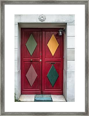 Red Diamond Door Framed Print by Georgia Fowler