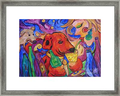 Red Dirk Dog And Rita Drink Framed Print