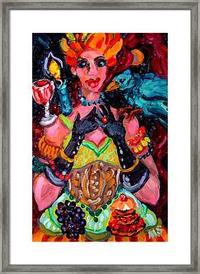Red Diva And Cerulean Bird Framed Print by Melissa Sarat