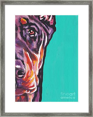 Red Dobie Man Framed Print by Lea S