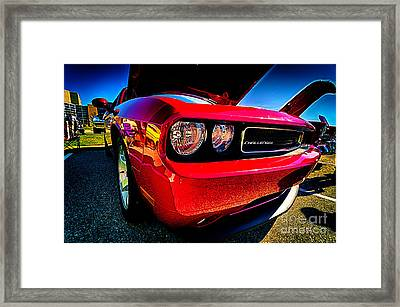 Red Dodge Challenger Vintage Muscle Car Framed Print