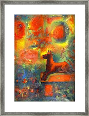 Red Dog In The Garden 2 Framed Print by Nato  Gomes