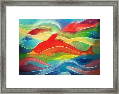 Red Dolphin Framed Print by Ann Croon