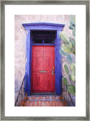 Red Door 317 Tucson Barrio Painterly Effect Framed Print by Carol Leigh