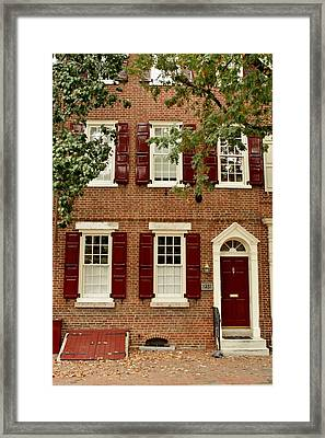 Red Door And Shutters Framed Print by Christopher Woods