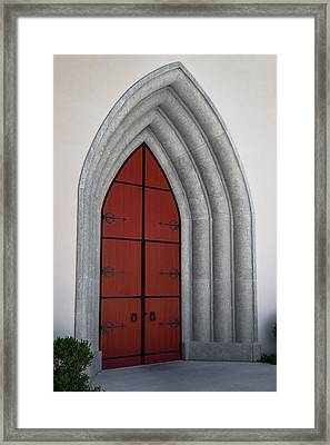 Red Door At Our Lady Of The Atonement Framed Print by Ed Gleichman