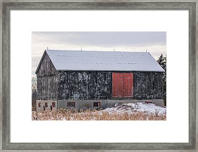 Red Door Barn Framed Print By James Canning