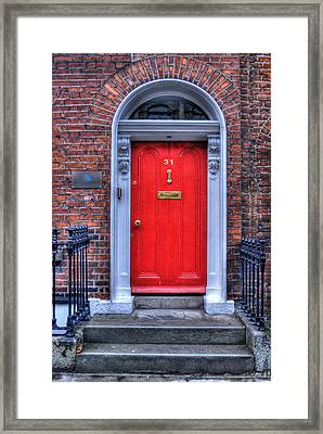 Red Door Dublin Ireland Framed Print by Juli Scalzi