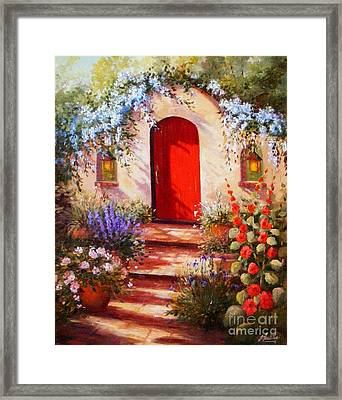 Red Door Framed Print by Gail Salitui