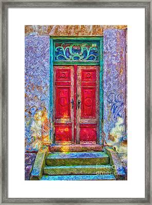 Red Door Green Frame Digital Painting Framed Print by Antony McAulay