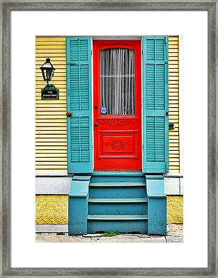 Red Door In New Orleans Framed Print by Christine Till