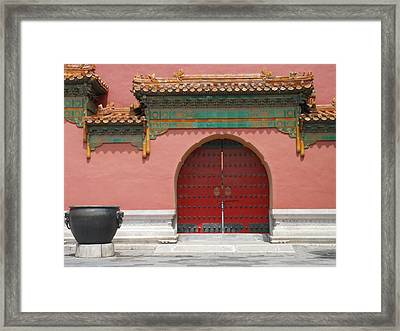 Framed Print featuring the photograph Red Door In The Forbidden City by Kay Gilley
