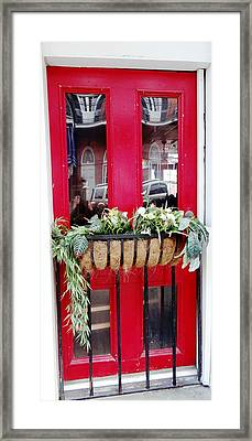 Red Door New Orleans Reflection Framed Print by Ecinja Art Works