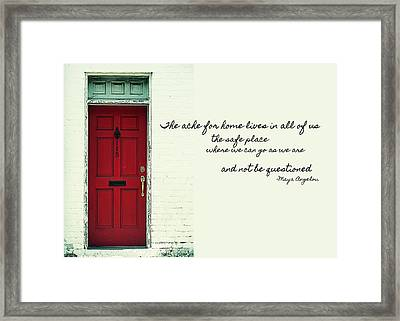 Red Door Quote Framed Print by JAMART Photography