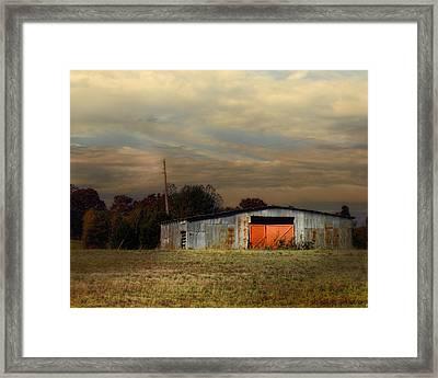 Red Doors - Barn At Sunset Framed Print by Jai Johnson
