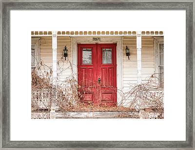 Red Doors - Charming Old Doors On The Abandoned House Framed Print by Gary Heller
