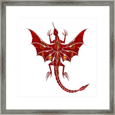 Red Dragon Fantasy Designs Abstract Holiday Art By Omaste Witkow Framed Print by Omaste Witkowski