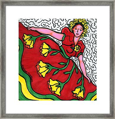 Red Dress With Yellow Roses Framed Print by Monique Montney