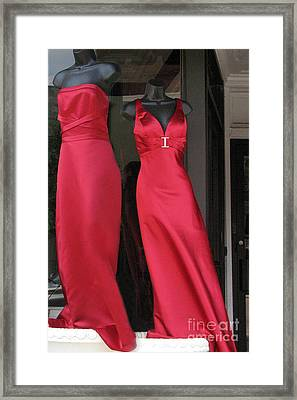 Red Dresses Mannequins - Pretty Red Dresses Fashion Decor Framed Print