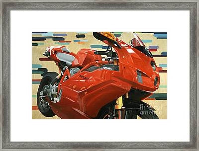 Red Ducati Framed Print by Guenevere Schwien