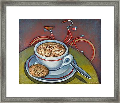 Red Dutch Bicycle With Cappuccino And Amaretti Framed Print